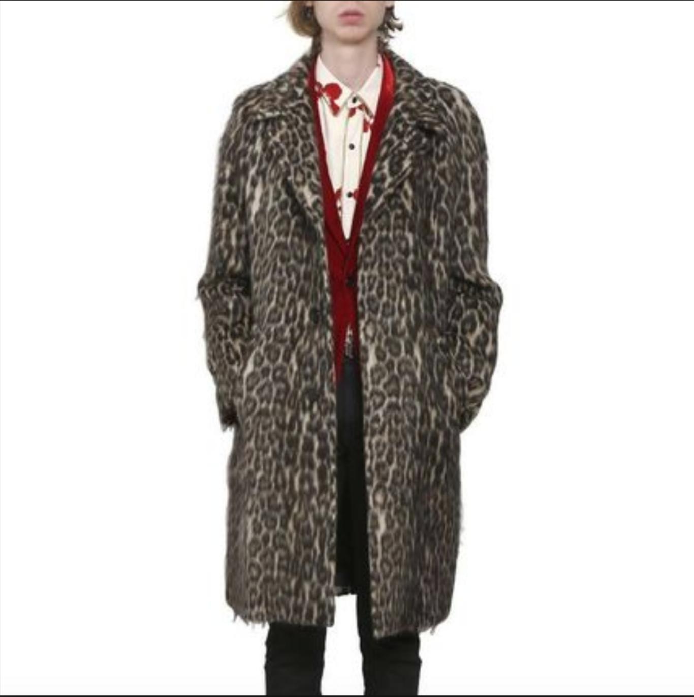 a4187b48885f Saint Laurent Paris Fw16 Leopard Print Wool Coat Sz 46 Hedi Slimane ...