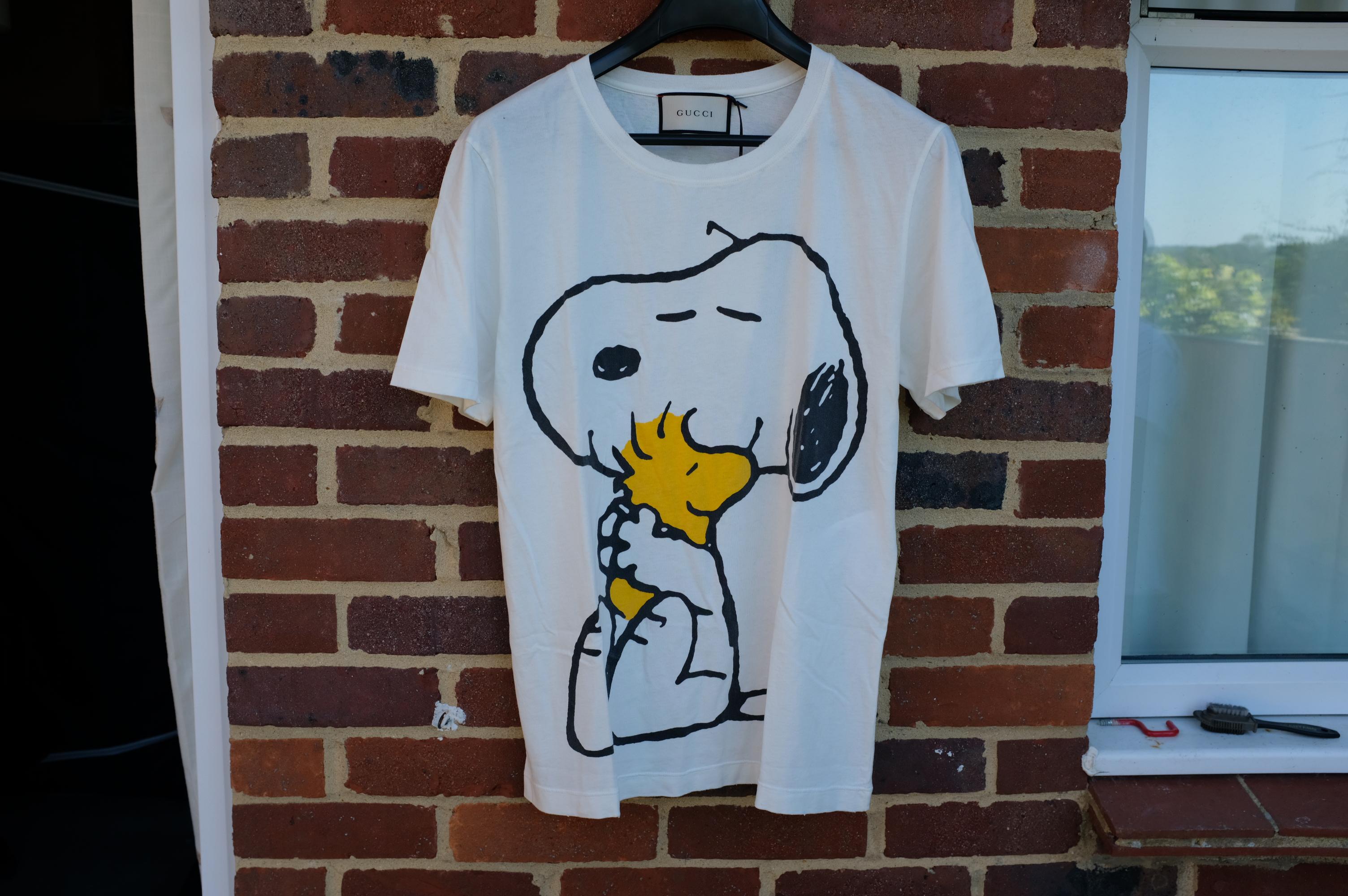 93f990dc648 Gucci × Peanuts ×. Distressed Snoopy and Woodstock Print T-Shirt