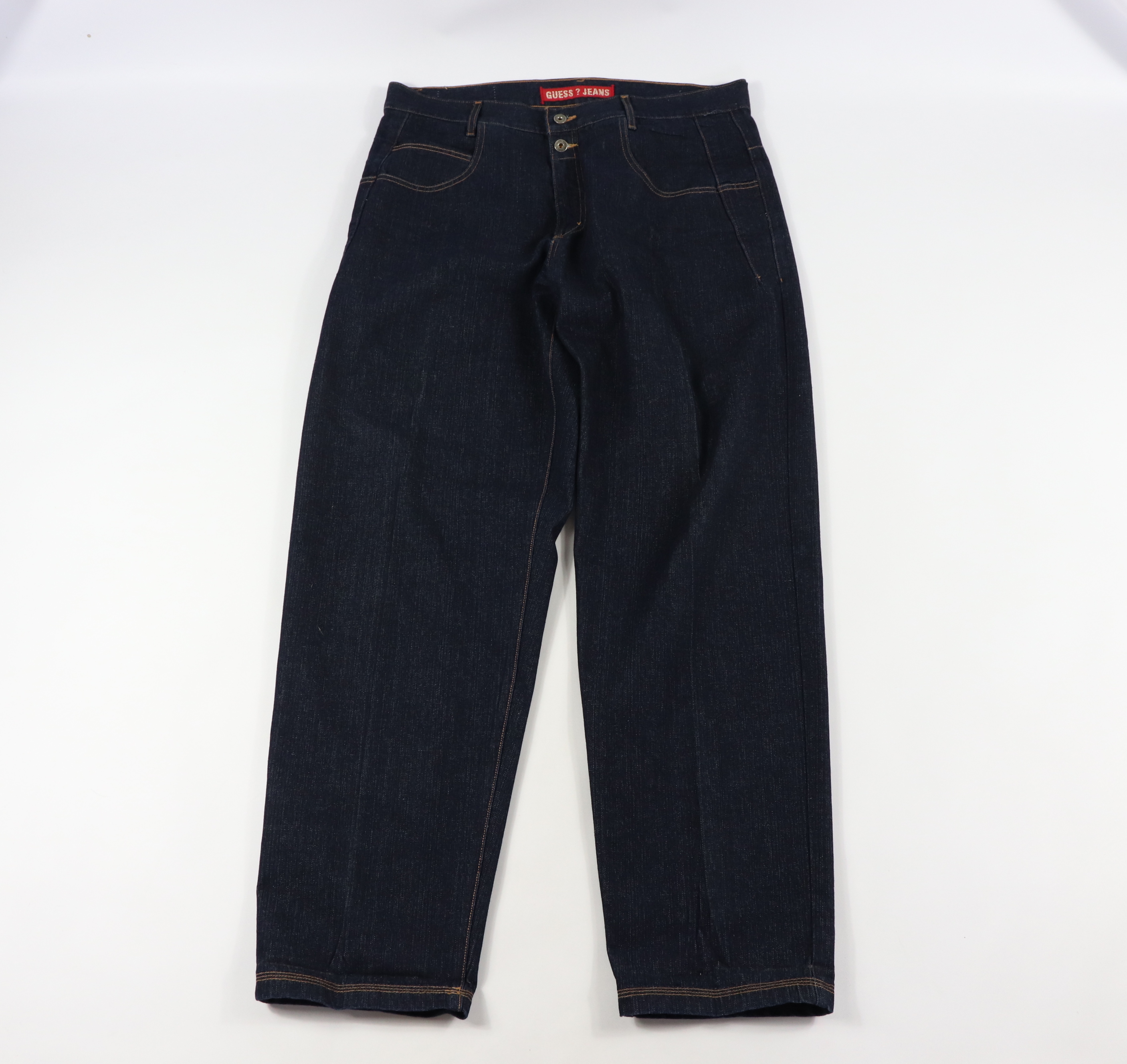 7e8fdfb89ee Guess ×. Vintage 90s Guess Mens 38x34 Spell Out Bootcut Denim Jeans ...