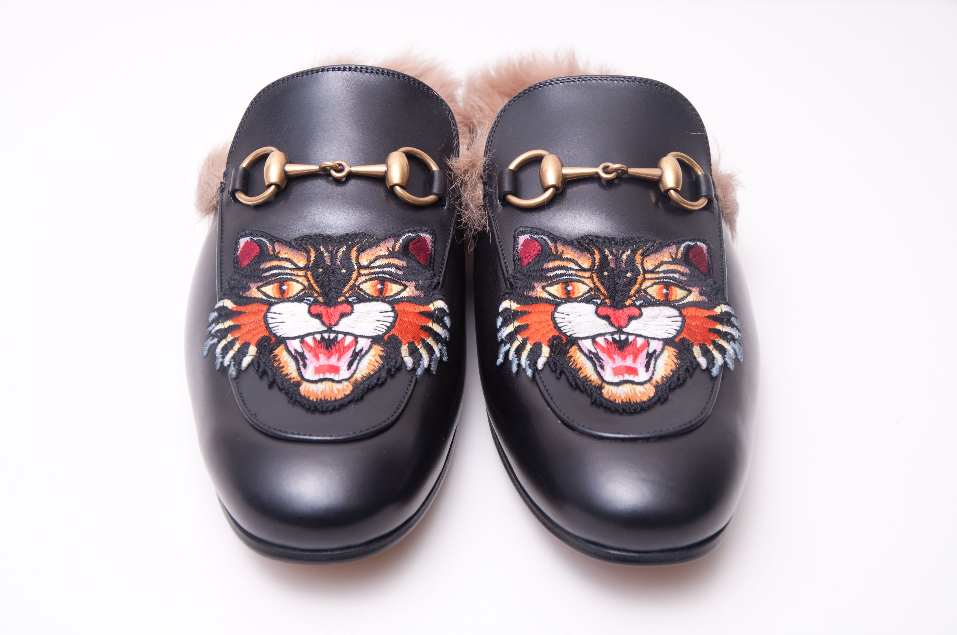 a94bed7f9bd Gucci 1050  Black Leather Princetown Slipper With Angry Cat Applique Size 9  - Sandals for Sale - Grailed