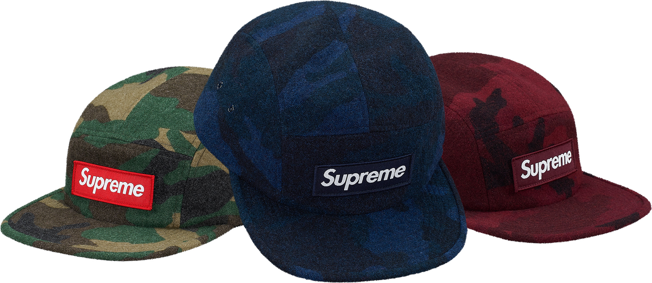 0b8dadd70ca16 ... discount supreme supreme camo wool camp cap navy box logo size one size  hats for sale