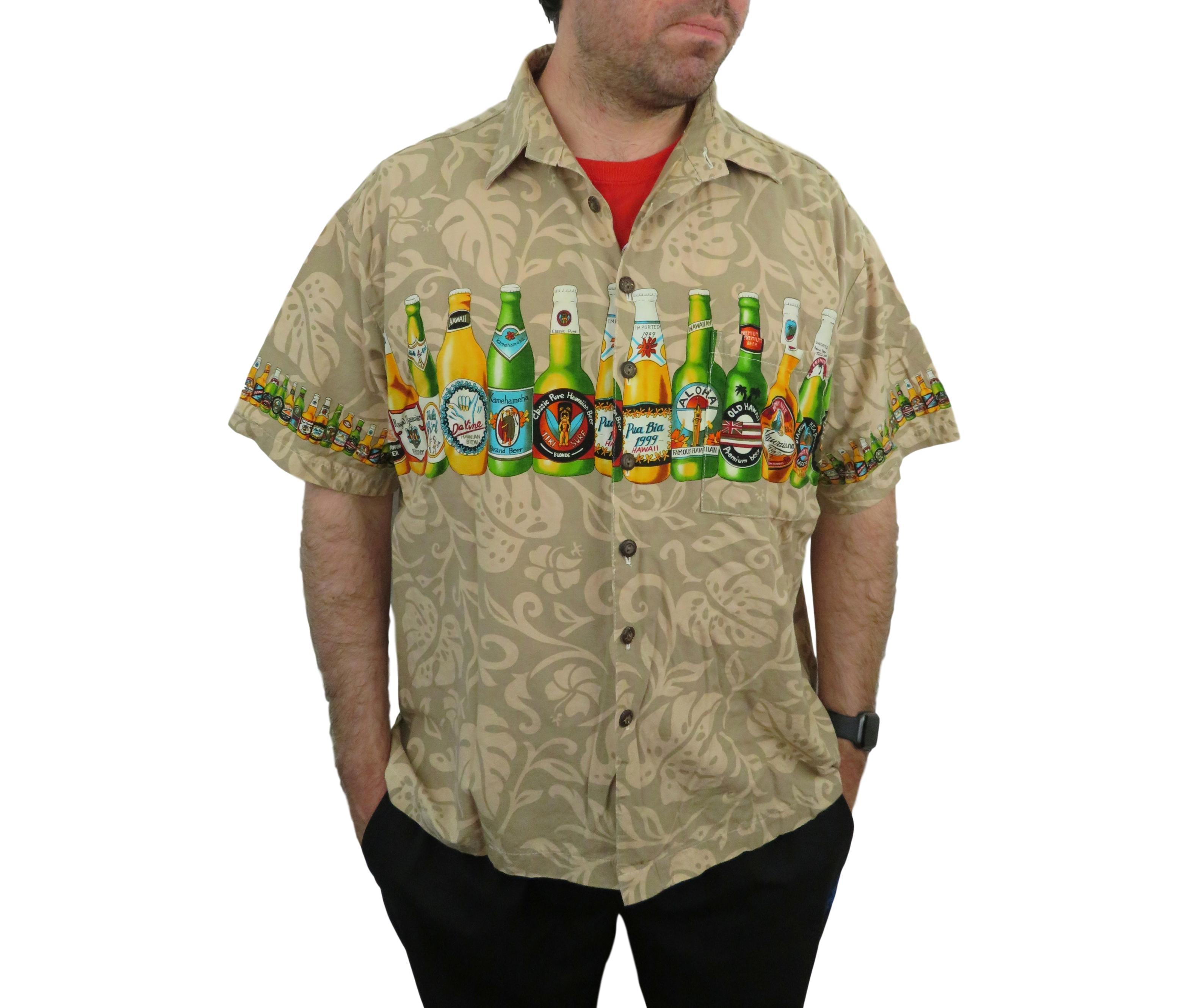 11c1b48b13f51 Vintage Koko Island Men's BEER HAWAIIAN SHIRT 2XL Floral Camp Aloha Tiki  XXL Short Sleeve Button Down Pua Bia Kamehameha Diamond Head Hotels