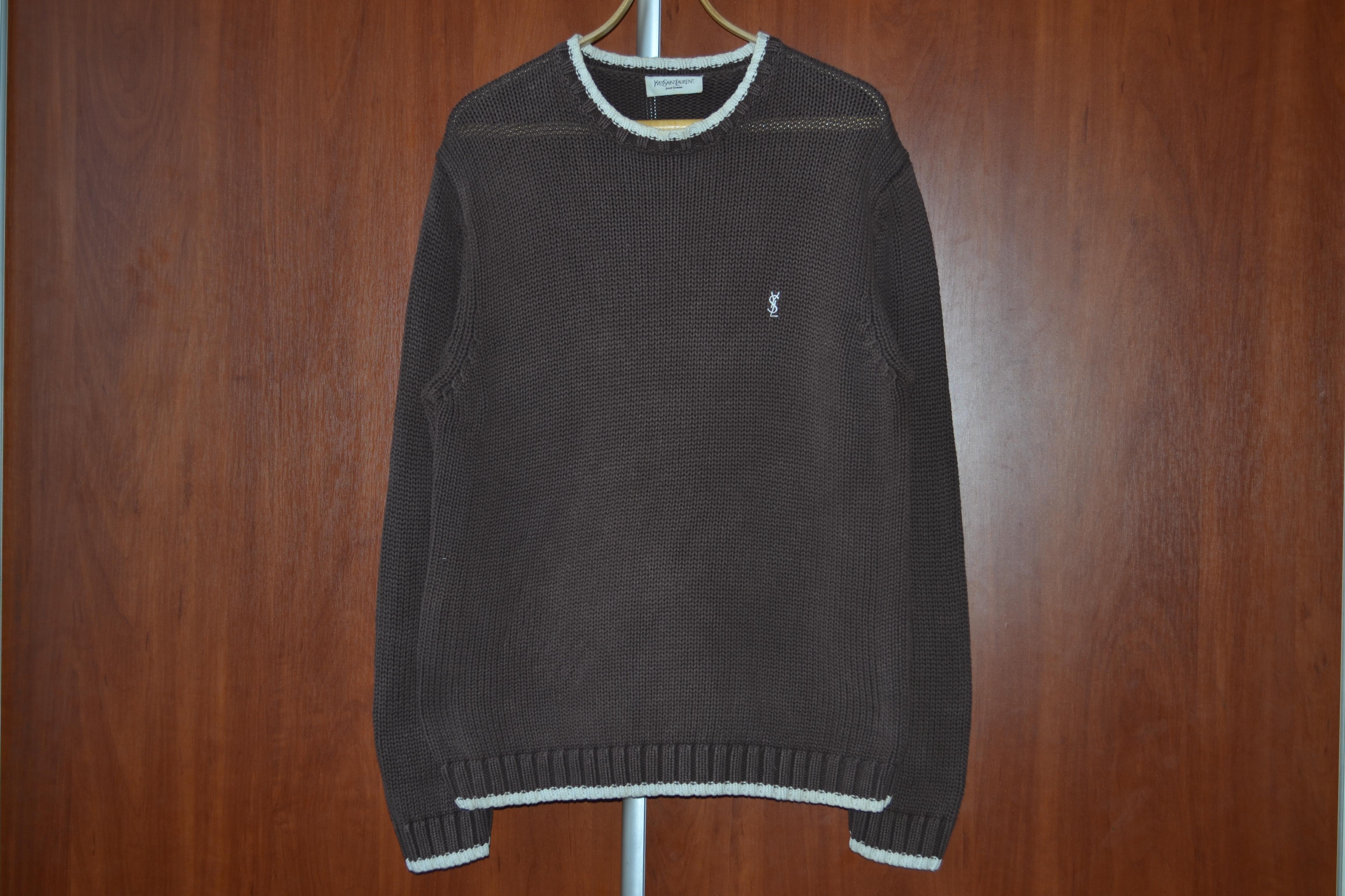31f1ee669b9ccd Saint Laurent Paris × Ysl Pour Homme × Yves Saint Laurent ×. logo knit  brown sweater