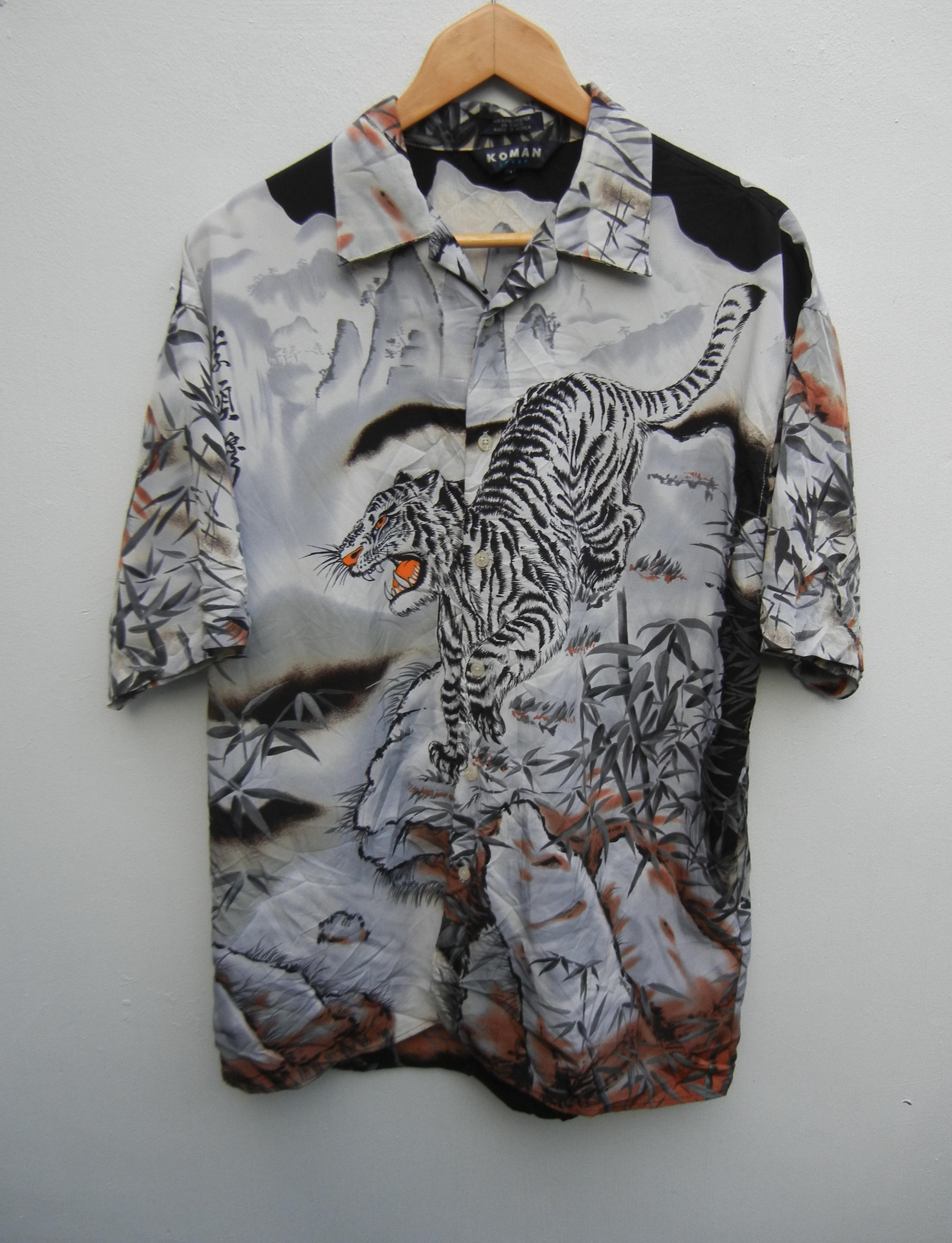Japanese Brand Koman Sports Hawaiian Shirt Men Large Vintage 90 S White Tiger Roaring Yakuza Rockabilly Shirt Hawaiian Surfer Button Down Shirt Size Xl [ 3525 x 2699 Pixel ]