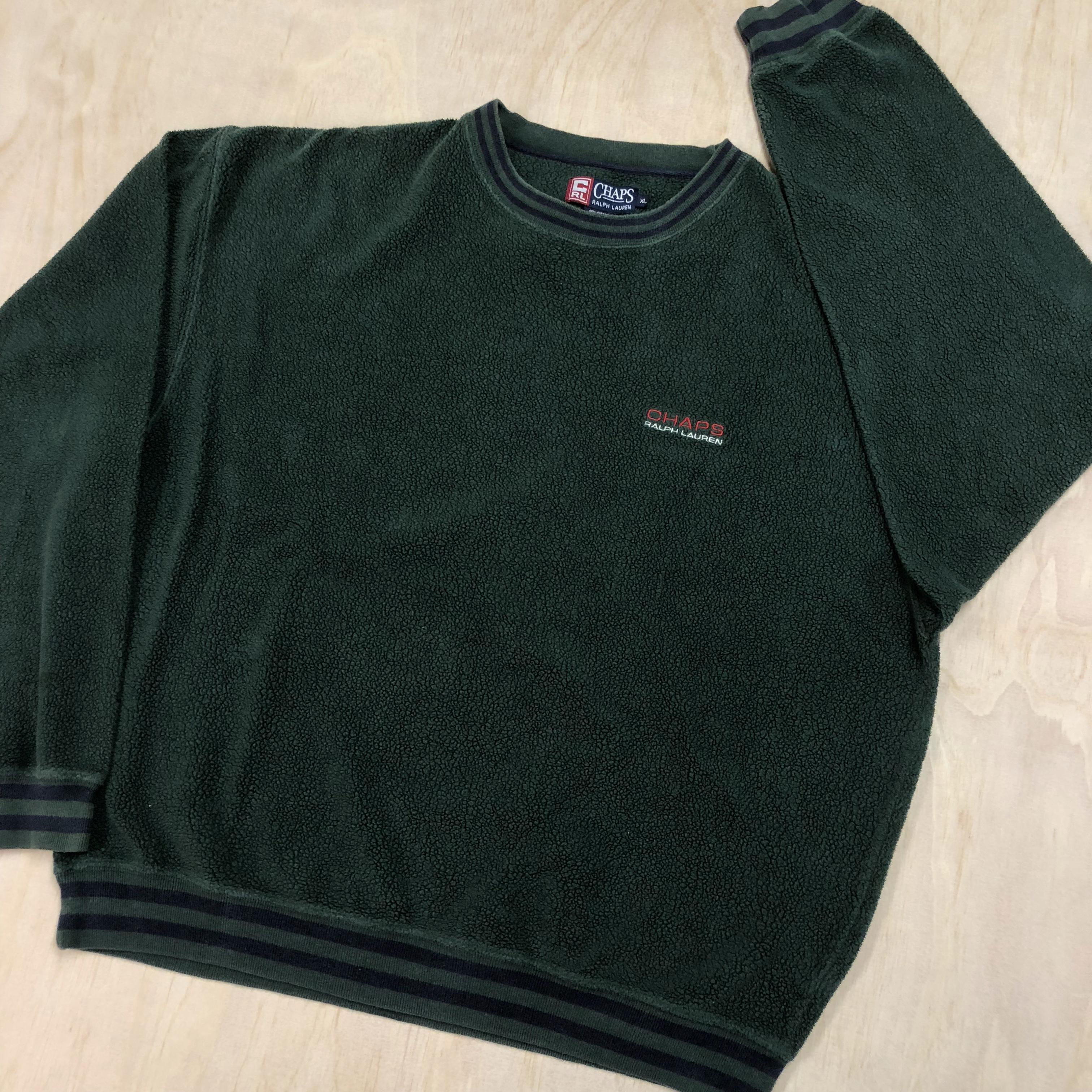 4f9fec71 Polo Ralph Lauren × Vintage × Chaps. 90s Chaps Ralph Lauren Fleece Crewneck Sweatshirt  Forest Green VTG